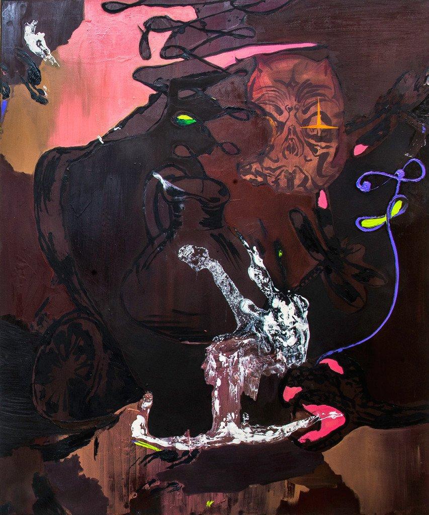 Adam Saks: Claw, 180x150 cm, olie på lærred, 2015. Foto: Niels Fabæk