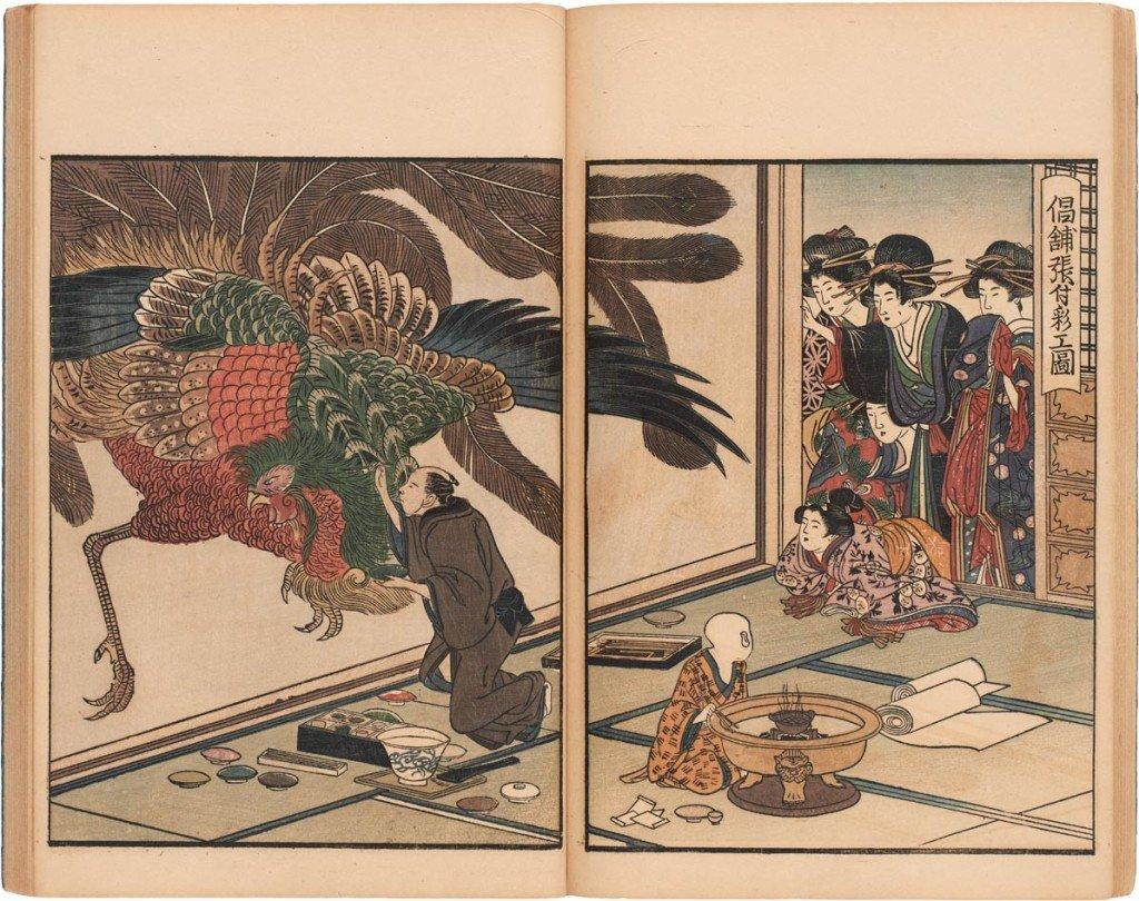 Kitagawa Utamaro (1753-1806) Seirō eshō nenju gyoji (Årlige begivenheder i forlystelseskvarteret Yoshiwara). Trykt i Edo (Tokyo) i 1804. En gruppe geishaer overværer en kunstner male en fusuma (skydedør).