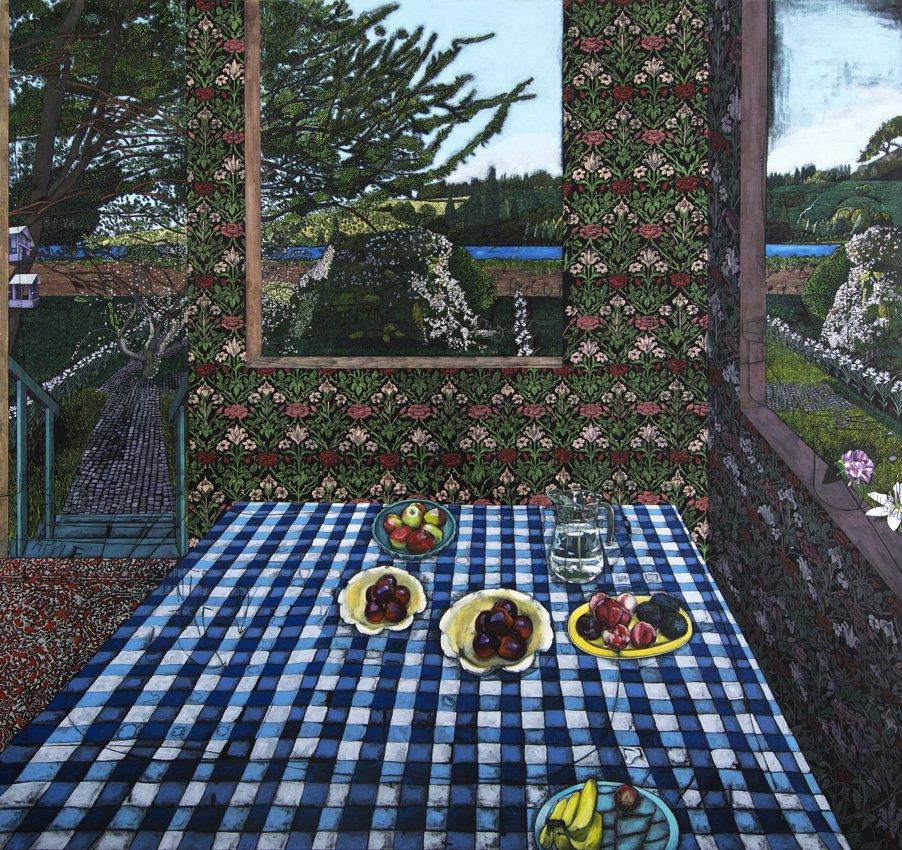 Jesper Christiansen: Paradismaleri #XXIII (John Henry Dearle & Lily) , 240x255 cm, 2015-16.