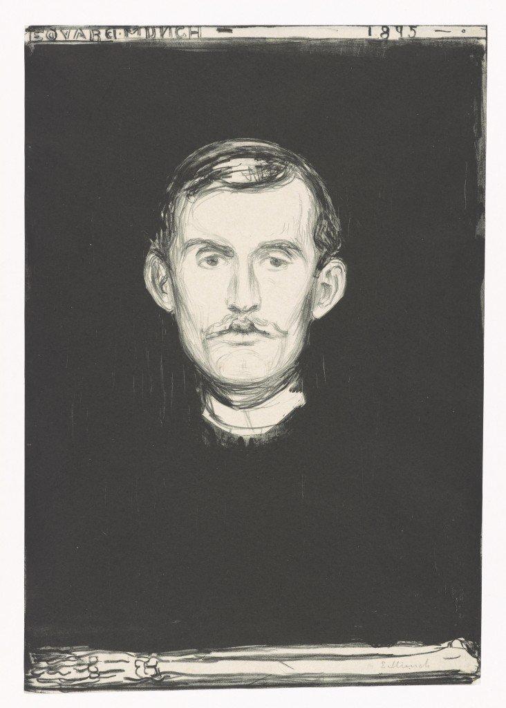 Edvard Munch: Selvportræt, 1895. Litografi. © Munchmuseet