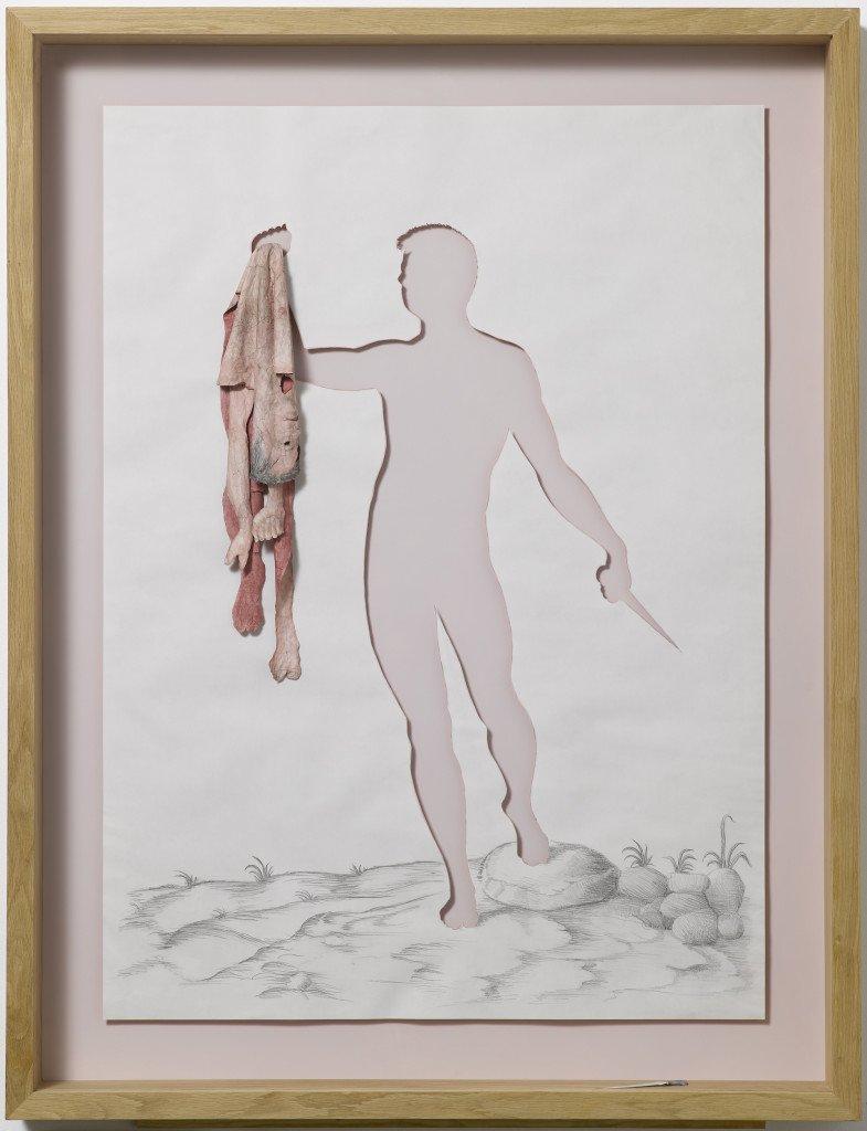 Hanging Image, 2008. Akvarel og blyant på 120 g syrefrit papir, lim og egetræsramme, 139 x 107 x 13 cm. Foto: Anders Sune Berg