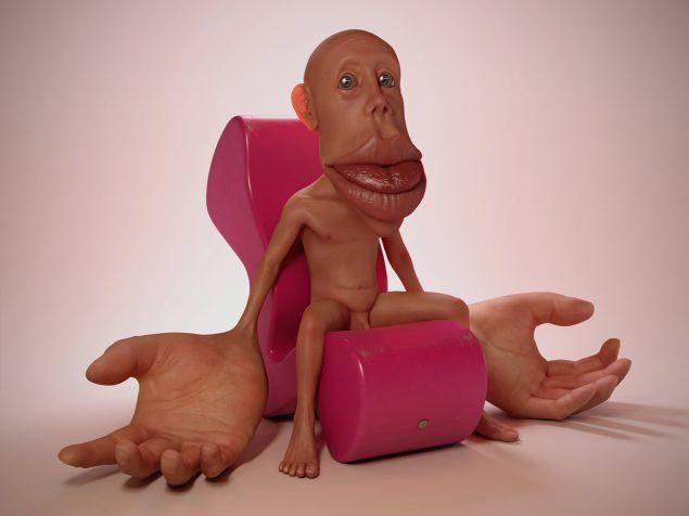 Phantom Limb (Sensorimotor Homunculus in Verner Panton Phantom Chair), 2011. Digital skulptur. Foto: ??