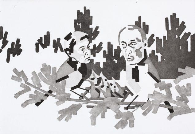 Putins parforholdsproblemer, 2014. Kobbertryk. Courtesy: LBA/Galleri KANT