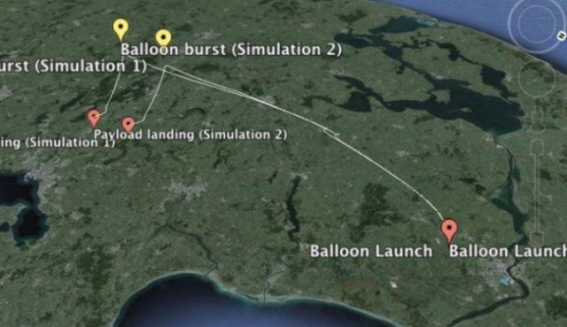Simulation af, hvordan ballonen med størst sandsynlighed kommer til at opføre sig 23. marts i forhold til vejrforholdene. Grafik: Kasper A. Holm.