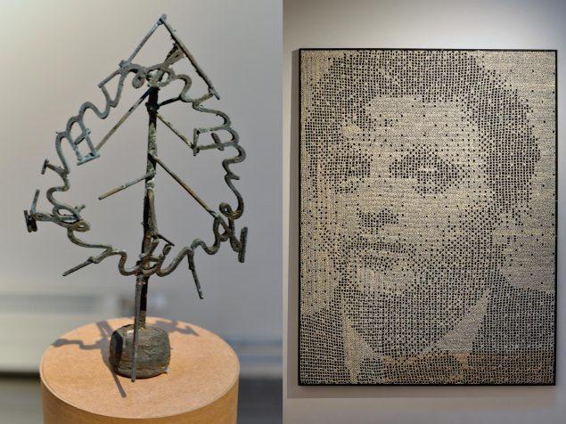 TV: Anders Bonnesen: Patineret bronzefigur, 2015. Foto: Ole Jørgensen. TH: Anders Bonnesen: PETER BICHSEL, makuleret litteratur, træ, stof. Foto: Ole Jørgensen
