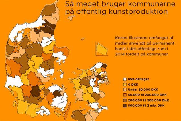 Rapport fra Statens Kunstfond giver overblik over den nationale økonomiske investering i kunst i det offentlige rum. Kilde: Statens Kunstfond