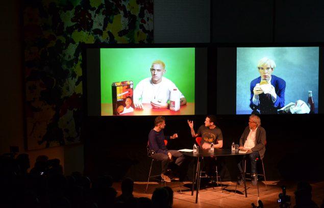 Jørgen Leth og Alex da Corte i samtale om deres respektive videoprojekter. Foto: Martin Hjerl