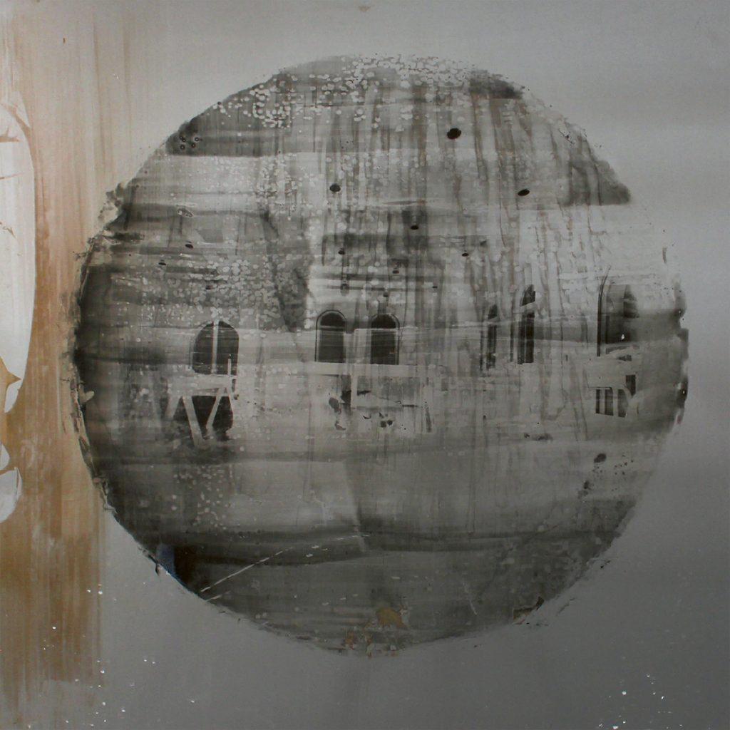Nanna Lysholt Hansen: Study for Memories of the Future(steel) #4, 2013, lak og fotoemulsion på stål, 62,5x62,5 cm