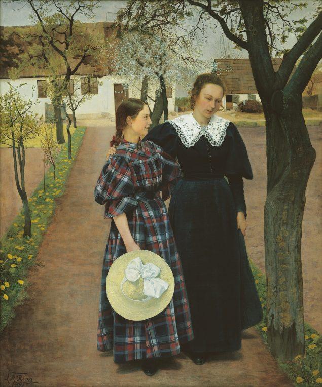 L.A. Ring: Forår. Ebba og Sigrid Kähler, 1895. Den Hirschsprungske Samling