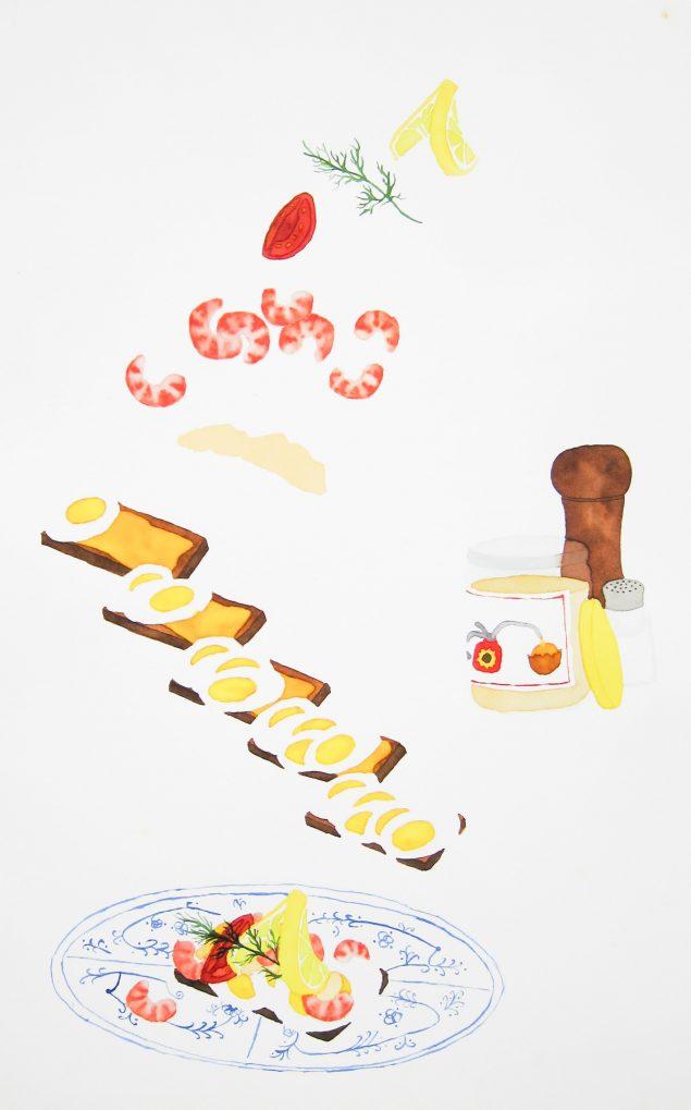 Et stykke med Æg og Rejer, 2015. Akvarel. Foto: @ Jesper Aabille