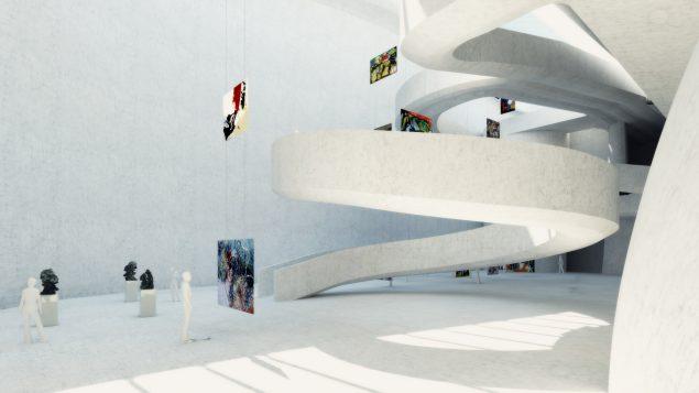 Adgang til gallerierne skulle foregå ad slyngede ramper. Malerierne skulle svæve frit i luften. Foto: Utzon Museet