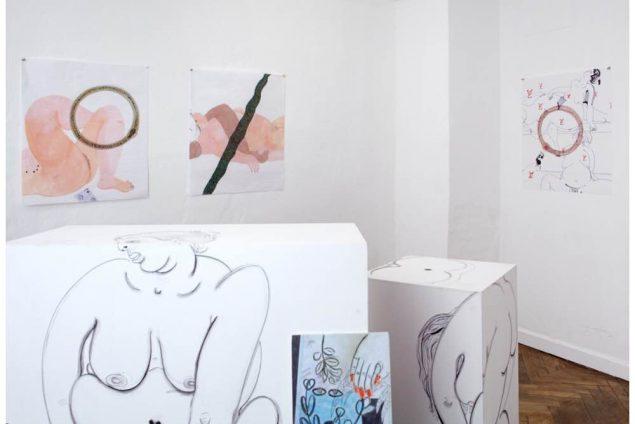 Susan Conte: installationsview fra udstillingen Flasher Dig - Flasher dig, SixtyEight Art Institute, duoudstilling med Gro Saruw, 2015. Udstillingen undersøgte gennem de udstillede værker flickering og flashes og herved spørgsmål om vores blik, seksualitet, kroppen og subjektivitet. Foto: SixtyEight