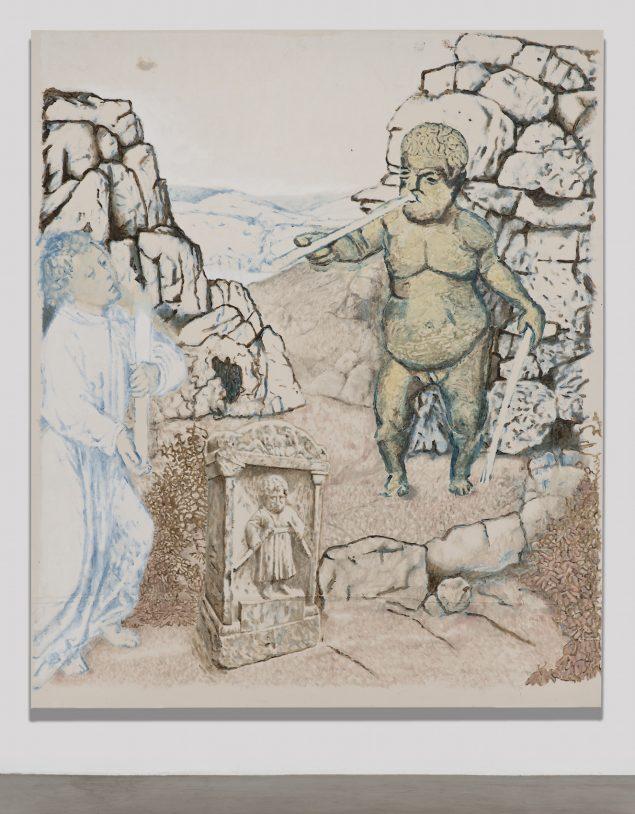 Sergej Jensen: Untitled, 2014. Akryl på lærred, 276.9 x 233.7 cm. © Sergej Jensen, Courtesy Regen Projects, Los Angeles