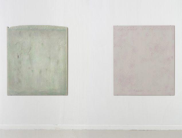Uden titel, 2014, trælim og akryl på plade, 140x122 cm. Foto: Anders Sune Berg