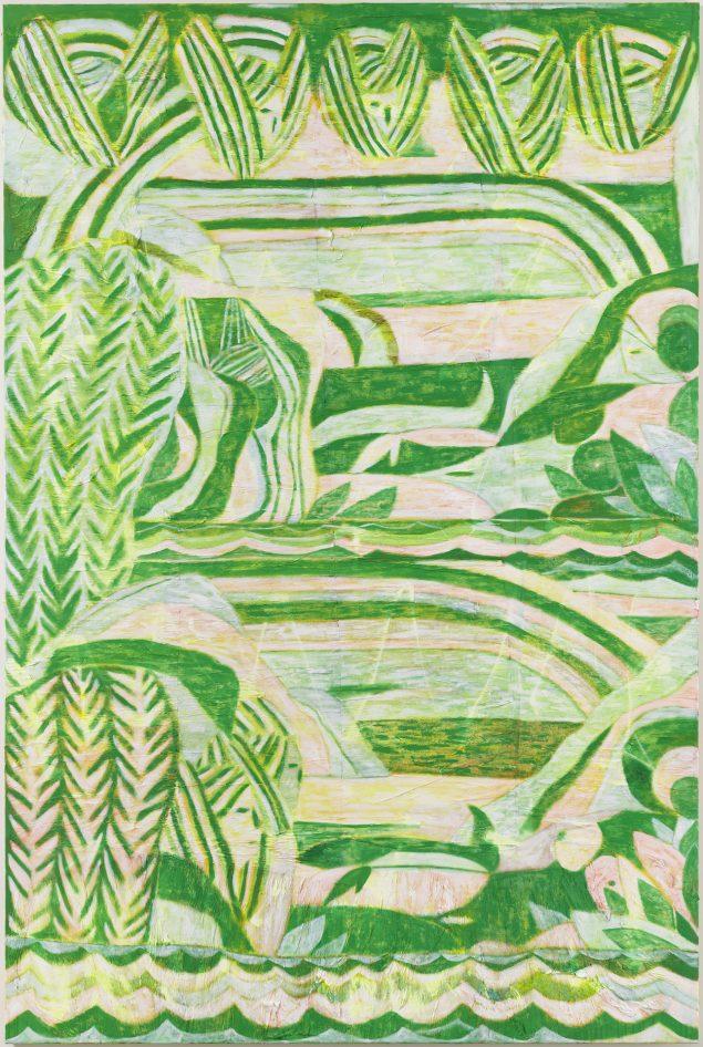 Alexander Tovborg: Sacra Conversazione (Adam finds Eve) 2012. Akrylmaling og papir på lærred, 300 x 200 cm. Foto: Anders Sune Berg