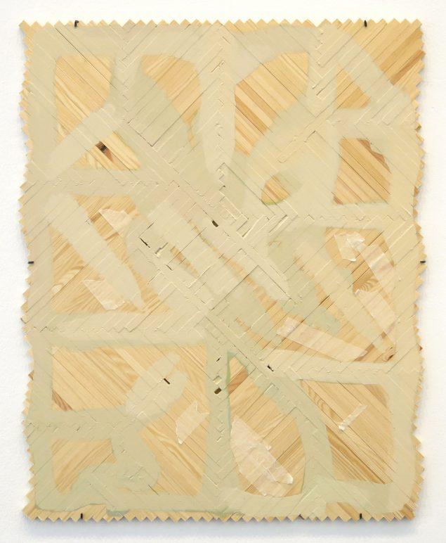 Uden titel, 2015. Akryl og malertape på trælister. 77x62 cm. Foto: Marie Søndergaard Lolk