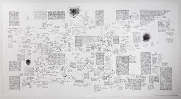 Det som tabes, 2015, forgreningstegning 3 fra soloudstiling hos Kunstforeningen GL STRAND.