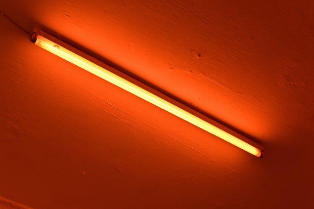 Uden titel, 2015, lysstofrør med orange filter. One and Three Monochromes, 2015, C4-Projects, København. Foto: A. Ramdas