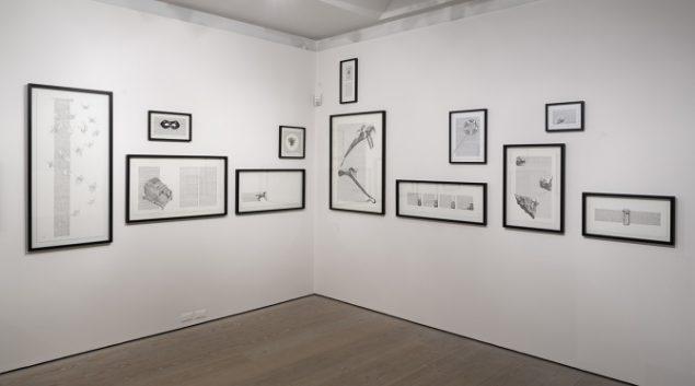 Wunderkammertegninger 2014-15. 24 tegninger. Installationsfoto fra GL STRAND. Foto: Torben Eskerod