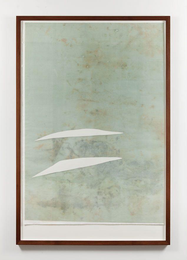 Untitled, Monotype - Plexiglas højprint 2015, olie, bejdse, ethanol og klorin. Træ lag af rispapir. 155 x 105 cm. Foto: David Stjernholm