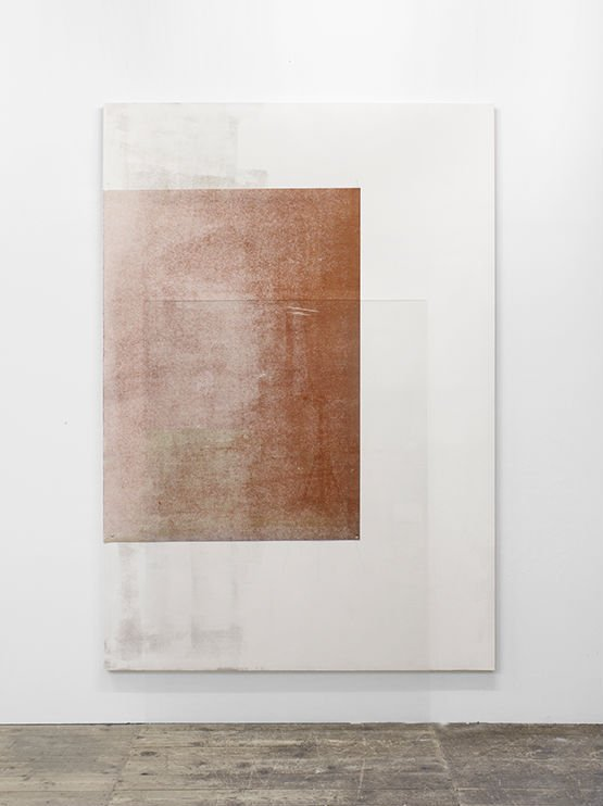 Untitled, Monotype højprint / blandede medier, 2015. Olie på rispapir, akryl, glas og MDF. 200 x 140 cm. Foto: David Stjernholm