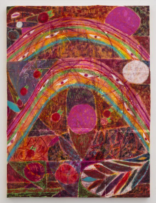 Alexander Tovborg: Eternal Feminine VIII, 2014. Filt, oliekridt, akrylmaling og imiteret guldblad på træpanel, 121 x 91 cm. Foto: Jason Mandella