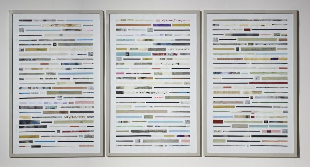 Katalog A12 (Retrospektivt), 2014. Arbejde i 3 dele. 206 x 403 cm. Ny Carlsbergfondet. Foto: Anders Sune Berg