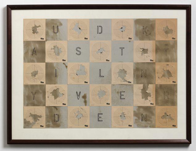 Udkast til ny verden, 1993. 90 x 122 cm. Den aktuelle udstilling på Sorø Kunstmuseum låner sin titel fra dette værk. Den peger på, hvordan kunsten ikke kun fortolker verden, men også skaber skitser til nye, mulige verdener og former vores ideer om fremtiden. Foto: Anders Sune Berg.