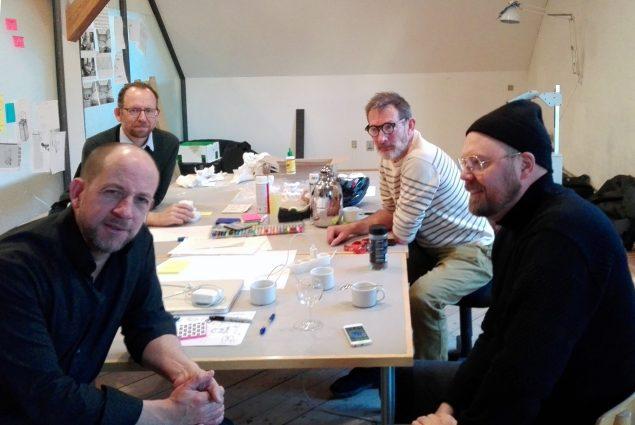 Artnode-medlemmerne Nikolaj Recke, Martin Pingel, Mogens jacobsen og Jacob Lillemose på Statens Værksteder for Kunst. Foto: Søren Martinsen