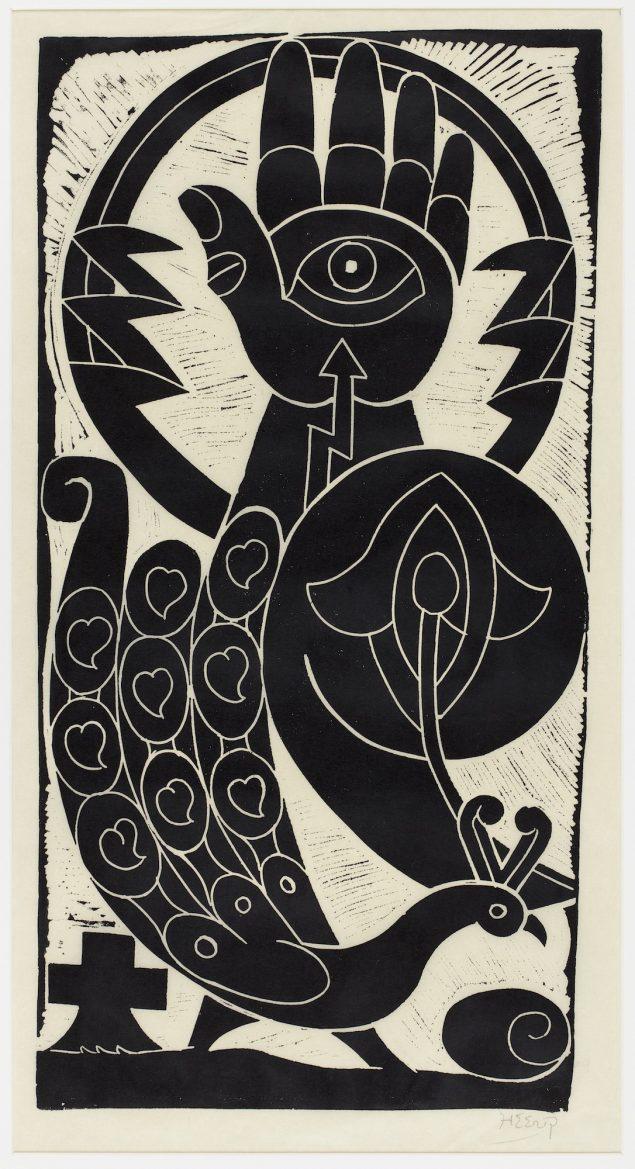 Henry Heerup: Politihånd og Påfugl, 1951. Linoleumssnit, 70,5 x 36,5 cm. Heerup Museum. Foto: Anders Sune Berg