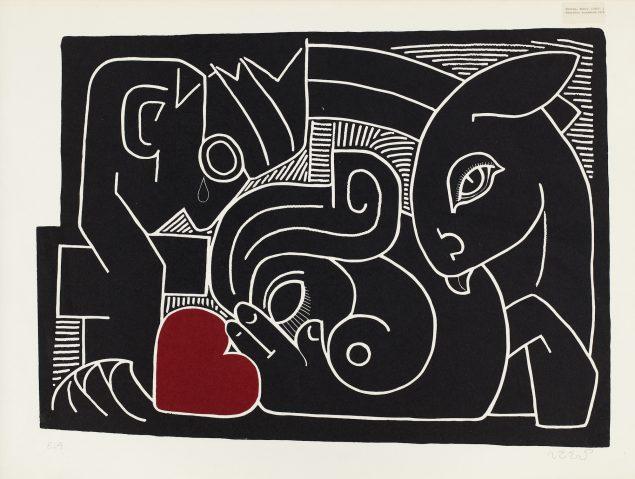 Henry Heerup: Ensomhedens Hjerte, 1954. Linoleumssnit, 81 x 111 cm. Heerup Museum. Foto: Michael Dam