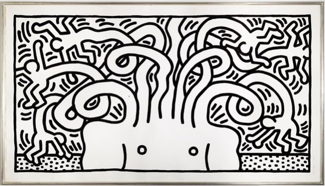 Keith Haring: Medusa Head, 1986. Sukker akvatinte 140 x 257 cm. Niels Borch Jensen Edition. Foto: Niels Borch Jensen Edition