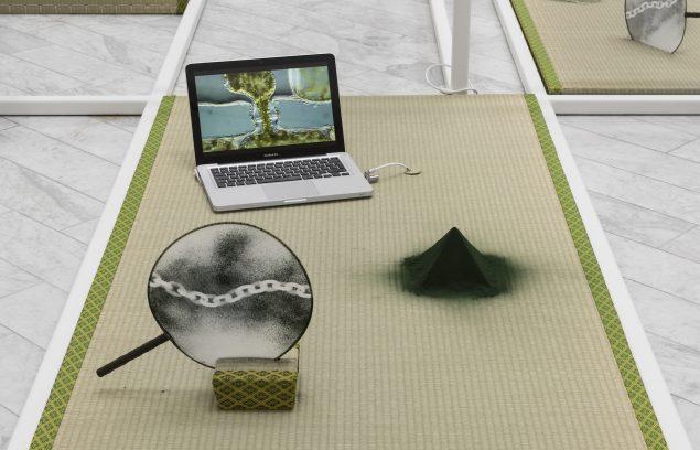 Tranen Contemporary Art Center. Mana Stash, 2016. (Tatamimåtte, alge spirulina pyramide, håndvifte med spor af kæde i algepulver, computer med mikroskop algae sex video gif. 90 x 180 cm). Foto: David Stjernholm