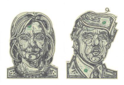Hillary og Trump i kunsten
