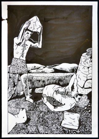 Zven Balslev: Kain og Abel, 2016. (Blæk og rettelak på papir, 42 x 297 cm). Foto: Marie Kirkegaard Gallery