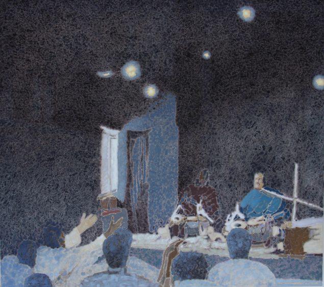 Ahmad Siyar Qasimi: House of Recitation, 2015, olie på lærred, 100 x 113 cm