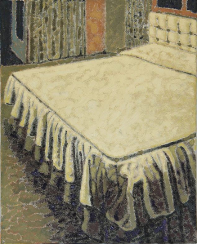 Ahmad Siyar Qasimi: The Bed, 2015, olie på lærred, 50 x 40 cm