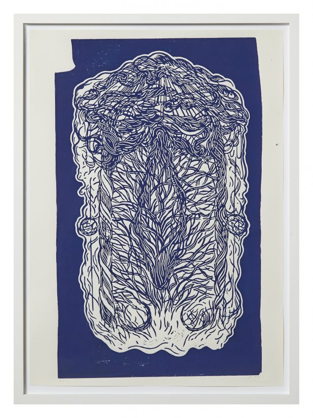 Dorte Naomi: Hail Uterus Sky (Kings Blue), 2014, 56 x 76 cm © Andreas Omvik