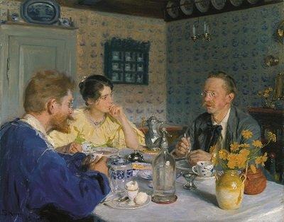 P.S. Krøyer: Ved frokosten (Kunstneren, hans hustru og forfatteren Otto Benzon), 1893. Den Hirschsprungske Samling, København. Foto © Den Hirschsprungske Samling