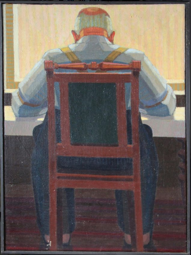 Preben Wölck: Mand på stol, olie på hessian