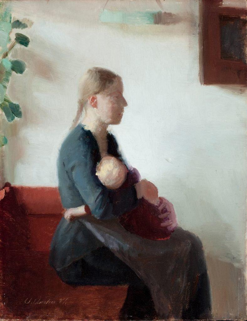 Anna Ancher, SMK, Statens museum for kunst, ung mor med barn