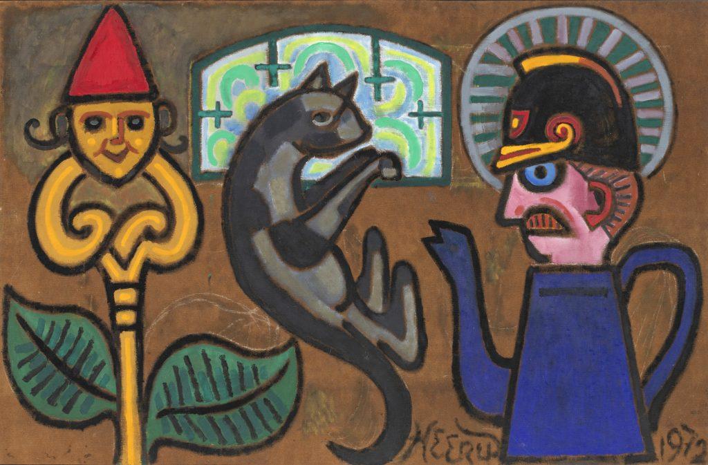 Henry Heerup: Katteangst, 1972, (beskåret). Uffe og Lene Jensen, Galleri Nakkehage.
