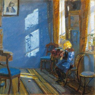 Anna Ancher, SMK, Statens museum for kunst, solskin i den blå stue