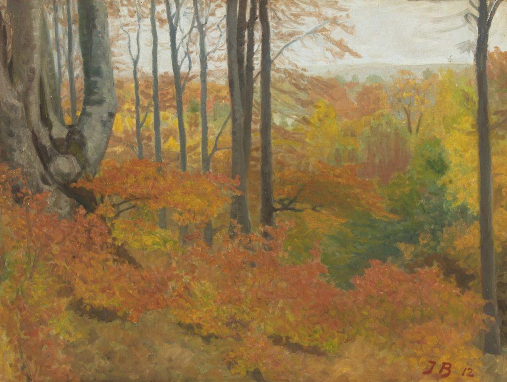 Jens Birkholm: Efterårsdag i skoven, 1907. Privateje.