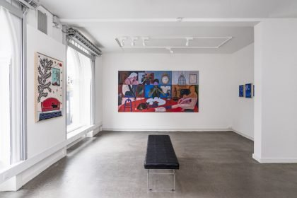 Installationsvue The Great Big Winther Show. Her ses bl.a. værker af Anne Torpe. Foto: Julie Nymann.