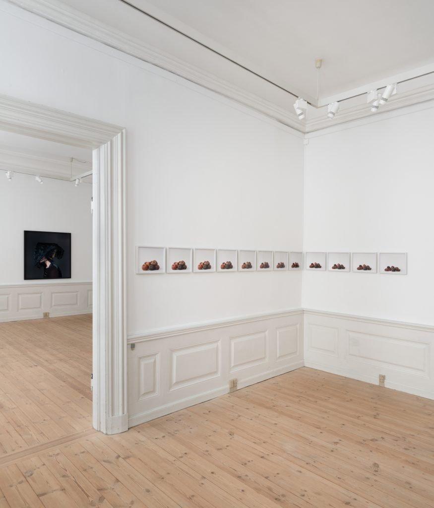 Trine Søndergaard: Nearly Now installationsvue. Her ses bl.a.Borgherre, 2020. Foto: David Stjernholm.