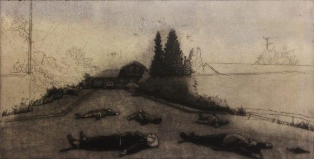 Blind Vej, 2018, Mezzotinte og koldnål, 52,5 x 30 cm. Pressefoto.