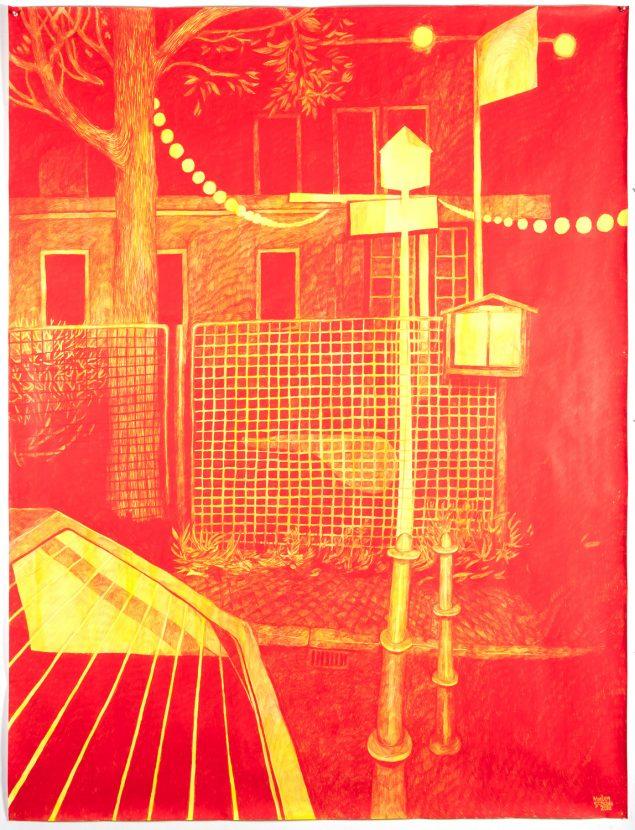 Morten Schelde. Ballhaus, 2019, blyant på papir. 200 x 150 cm.
