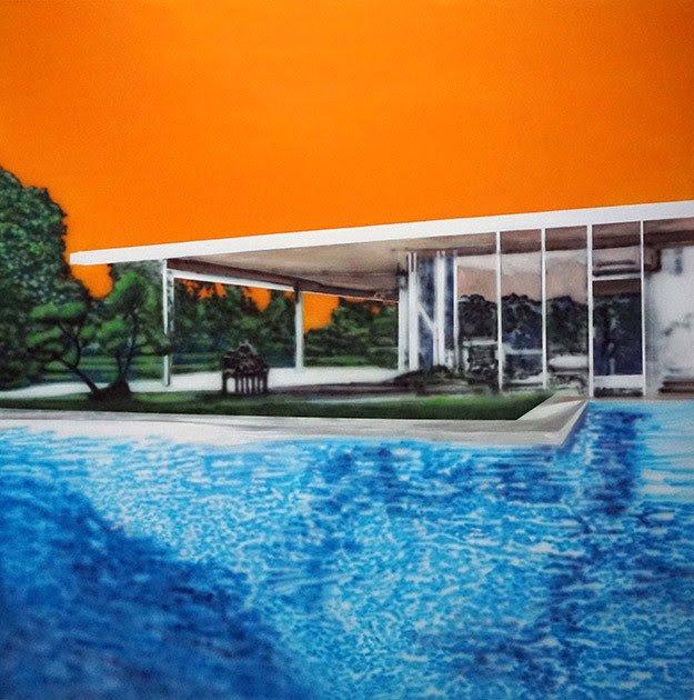 Eamon O'Kane, Neutra Swimming Pool With Orange Sky, 2019, akryl på lærred, 200x200 cm. Pressefoto.
