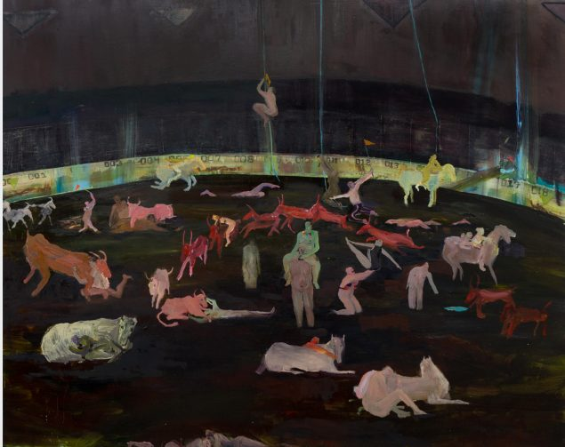 Grace Metzler, Untitled (Arena), 2019, olie og akryl på panel, 122 x 152,5 cm. Pressefoto.